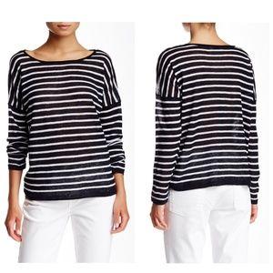 Vince Striped Linen Pullover Sweater Lightweight